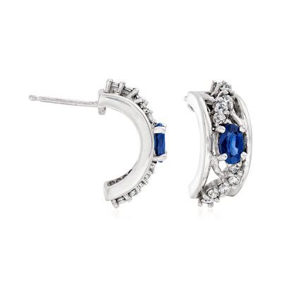 C. 2000 Vintage .50 ct. t.w. Sapphire and .45 ct. t.w. Diamond Earrings in 14kt White Gold