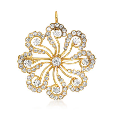 C. 1940 Vintage 3.40 ct. t.w. Diamond Flower Pin/Pendant in 14kt Yellow Gold