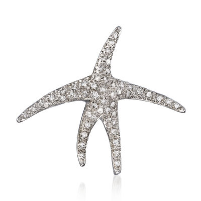 C. 1980 Vintage .50 ct. t.w. Diamond Starfish Pin in 18kt White Gold