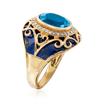 Lapis, 3.30 Carat Swiss Blue Topaz and .21 ct. t.w. Diamond Ring in 14kt Yellow Gold. Size 7