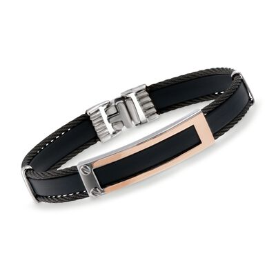 ALOR Men's Black Rubber and Stainless Steel Cable Bracelet with 18kt Rose Gold, , default