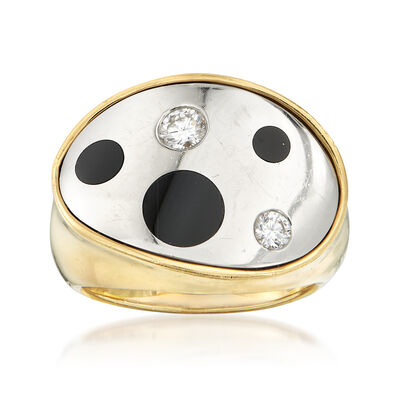 C. 1990 Vintage Black Onyx and .25 ct. t.w. Diamond Ring in 18kt Yellow Gold , , default