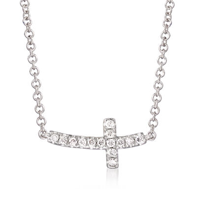 Gabriel Designs Diamond-Accented Sideways Cross Necklace in 14kt White Gold