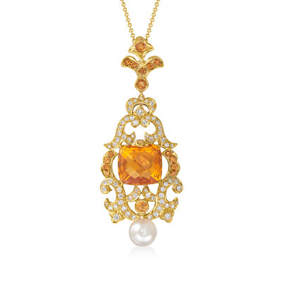 C. 1990 Vintage 8.00 ct. t.w. Citrine and 1.00 ct. t.w. Diamond Pendant Necklace with 8mm Cultured Pearl in 14kt and 18kt Gold