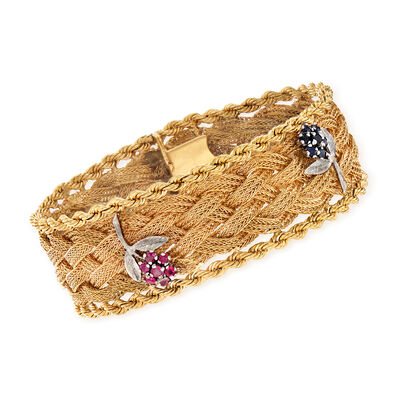C. 1970 Vintage .70 ct. t.w. Sapphire and .70 ct. t.w. Ruby Floral Basketweave Bracelet in 14kt Yellow Gold