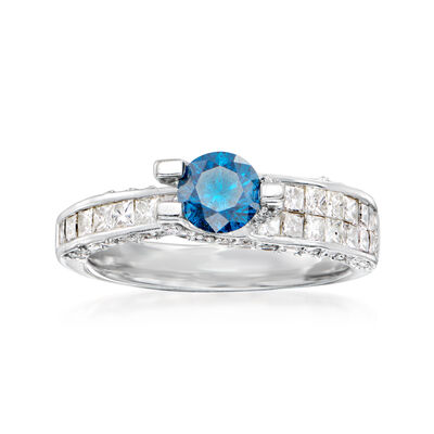 C. 1990 Vintage .60 Carat Blue Diamond Ring with 1.60 ct. t.w. Diamonds in 14kt White Gold