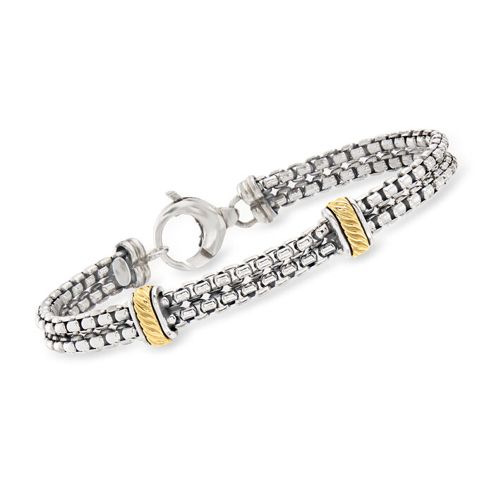 """Phillip Gavriel Men's """"Italian Cable"""" Sterling Silver and 18kt Yellow Gold Double-Strand Bracelet"""