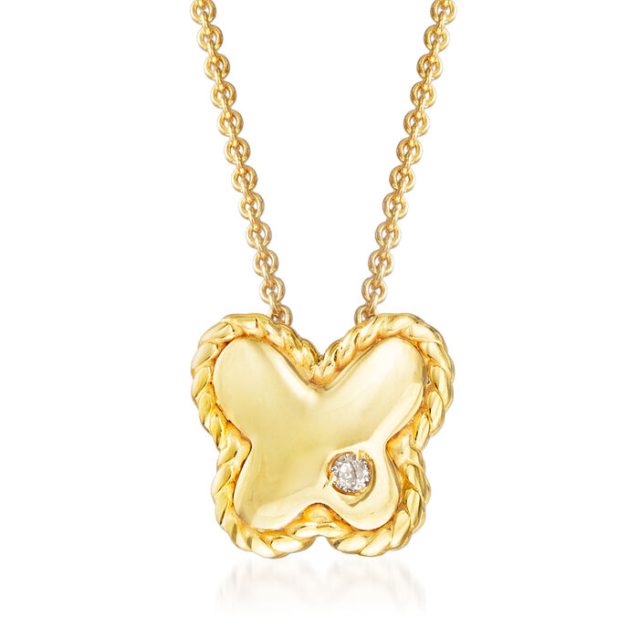 "Phillip Gavriel ""Italian Cable"" Butterfly Pendant Necklace with Diamond Accent in 14kt Yellow Gold"