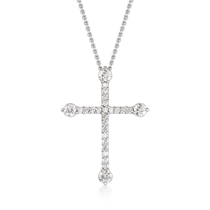 Roberto Coin .47 ct. t.w. Diamond Cross Pendant Necklace in 18kt White Gold. 16""