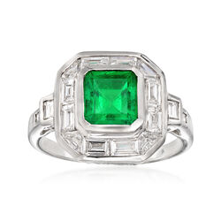 C. 1990 Vintage 1.60 Carat Emerald and 1.30 ct. t.w. Diamond Ring in 18kt White Gold, , default