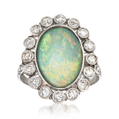 C. 1950 Vintage Opal and .75 ct. t.w. Diamond Ring in Platinum, , default