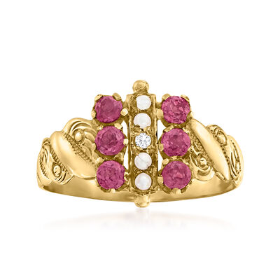 C. 1910 Vintage .40 ct. t.w. Rhodolite Garnet Ring with Seed Pearls and Diamond Accent in 10kt Yellow Gold
