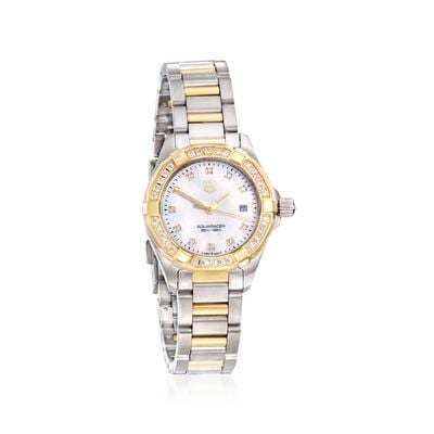 TAG Heuer Aquaracer Women's 27mm .44 ct. t.w. Diamond Watch in Stainless Steel and 18kt Yellow Gold, , default