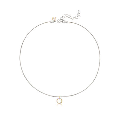 """ALOR Gray """"Classique"""" .14 ct. t.w.  Diamond Stainless Steel Cable Pendant Necklace with 18kt Gold, , default"""