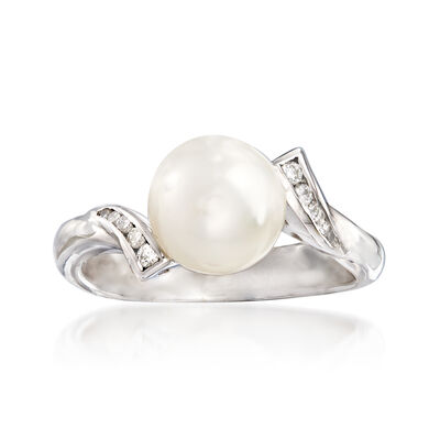 C. 1990 Vintage Salvini Cultured Pearl and .10 ct. t.w. Diamond Ring in 18kt White Gold, , default