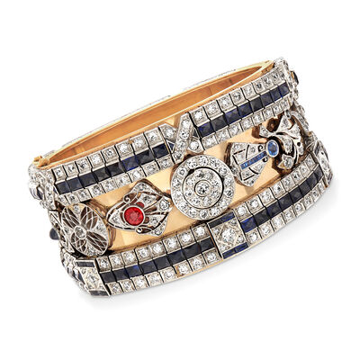 C. 1970 Vintage 29.55 ct. t.w. Diamond, Sapphire and Ruby Bangle Bracelet in Platinum and 14kt Yellow Gold, , default