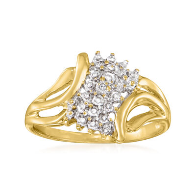 C. 1990 Vintage Diamond-Accented Ring in 10kt Two-Tone Gold