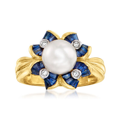 C. 2000 Vintage 8mm Cultured Pearl and 1.20 ct. t.w. Sapphire Flower Ring with Diamond Accents in 14kt Yellow Gold