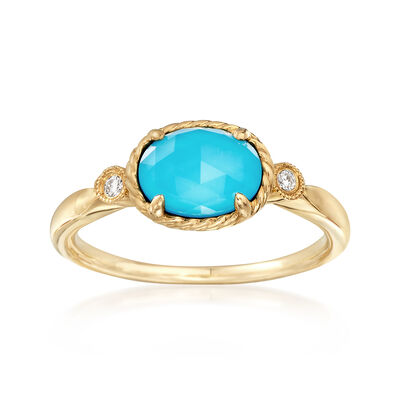 Gabriel Designs Synthetic Turquoise and 1.00 Carat Rock Crystal Quartz Ring with Diamond Accents in 14kt Gold