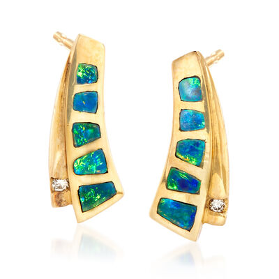 C. 1990 Vintage Black Opal Earrings in 18kt Yellow Gold, , default