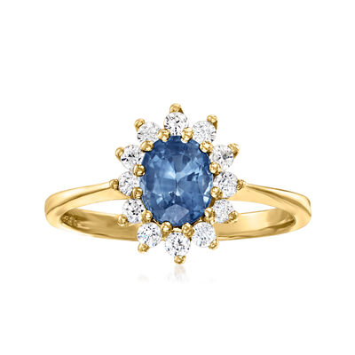C. 1980 Vintage 1.05 Carat Sapphire and .30 ct. t.w. CZ Ring in 10kt Yellow Gold