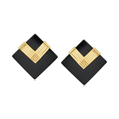 C. 1980 Vintage Black Onyx Earrings in 14kt Yellow Gold