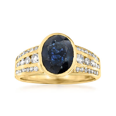 C. 1980 Vintage 2.30 Carat Sapphire and .70 ct. t.w. Diamond Ring in 18kt Yellow Gold