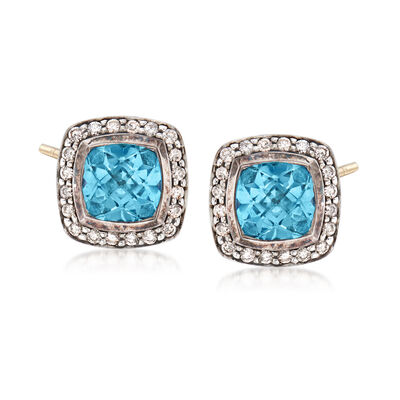 C. 1990 Vintage David Yurman 2.50 ct. t.w. Blue Topaz and .50 ct. t.w. Diamond Earrings in Sterling Silver, , default