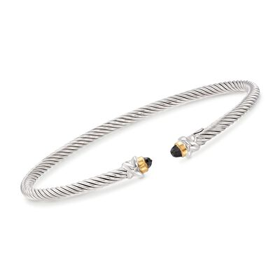"Phillip Gavriel ""Italian Cable"" .30 ct. t.w. Black Spinel Cuff Bracelet in Sterling Silver and 18kt Gold, , default"