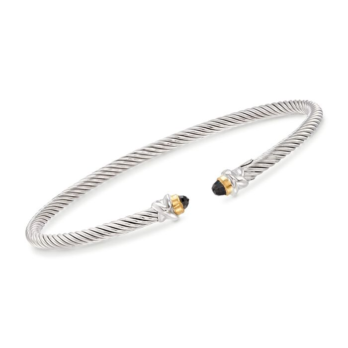 """Phillip Gavriel """"Italian Cable"""" .30 ct. t.w. Black Spinel Cuff Bracelet in Sterling Silver and 18kt Gold"""