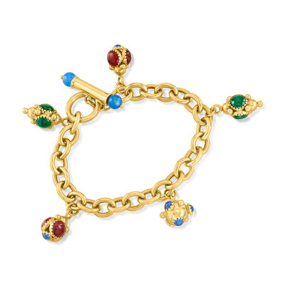C. 1980 Vintage 14kt Yellow Gold Charm Bracelet with Multicolored Chalcedony