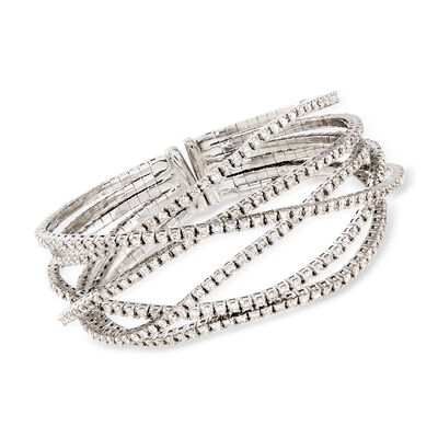 C. 2005 Vintage 7.65 ct. t.w. Diamond Criss-Cross Bracelet in 18kt White Gold