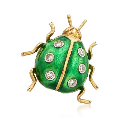 C. 1990 Vintage Green Enamel and .15 ct. t.w. Diamond Ladybug Pin in 18kt Yellow Gold