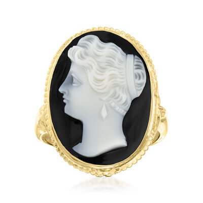 C. 1960 Vintage Black Agate Cameo Ring in 14kt Yellow Gold
