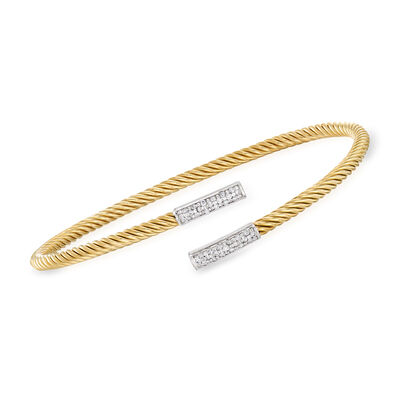 "Phillip Gavriel ""Italian Cable"" .20 ct. t.w. Diamond Bypass Cuff Bracelet in 14kt Yellow Gold"
