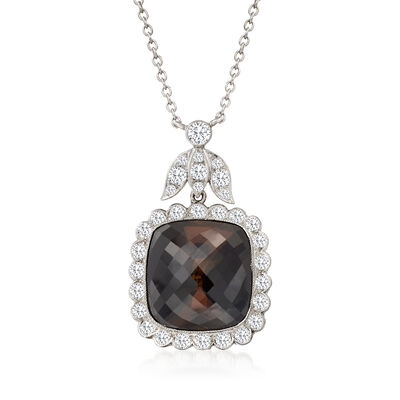 C. 1990 Vinage 9.70 Carat Brown Tourmaline and 1.35 ct. t.w. Diamond Necklace in 18kt and 14kt White Gold