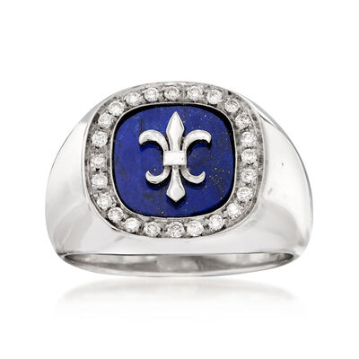 C. 1970 Vintage Fleur-De-Lis Lapis and .35 ct. t.w. Diamond Ring in 18kt White Gold, , default
