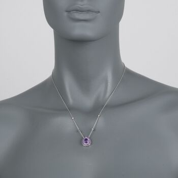 "Gregg Ruth 1.60 Carat Total Weight Amethyst Necklace with Diamond Accents in 18-Karat White Gold. 18"", , default"