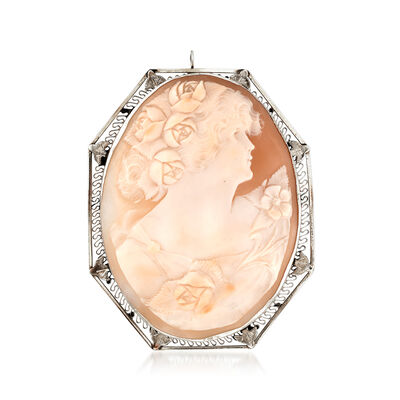 C. 1950 Vintage Pink Shell Cameo Pin Pendant in 14kt White Gold, , default