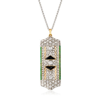 C. 2000 Vintage 3.00 ct. t.w. Diamond and 1.25 ct. t.w. Emerald Pin Pendant Necklace With Black Onyx in 14kt and 18kt Gold, , default