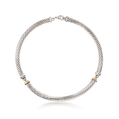 C. 1990 Vintage Two-Tone Rope Section Necklace in Sterling Silver and 14kt Yellow Gold, , default