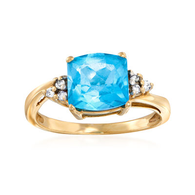 C. 1990 Vintage 1.85 Carat Sky Blue Topaz Ring with Diamond Accents in 14kt Yellow Gold