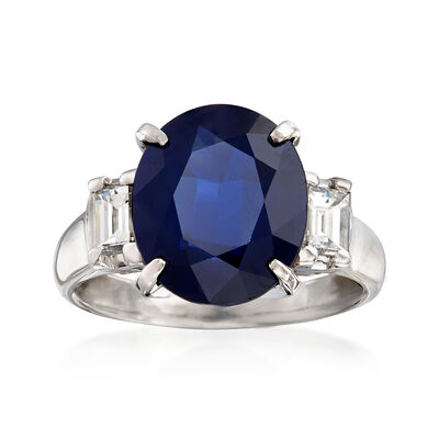 C. 2000 Vintage 5.88 Carat Oval Sapphire and .55 ct. t.w. Diamond Ring in Platinum, , default