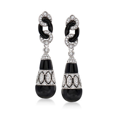 C. 1990 Vintage Black Onyx and .50 ct. t.w. Diamond Drop Earrings in 14kt White Gold