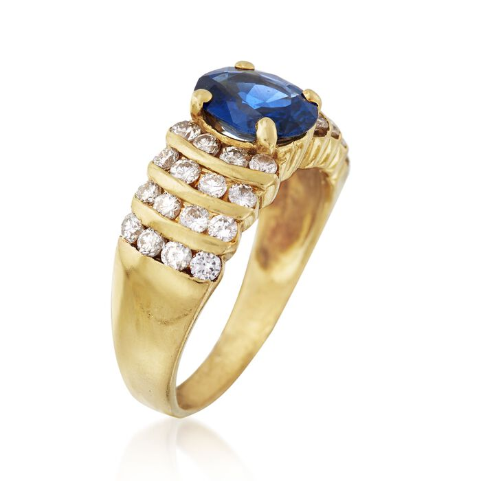 C. 1990 Vintage 1.55 Carat Sapphire and .85 ct. t.w. Diamond Ring in 18kt Yellow Gold