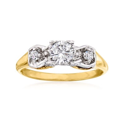 C. 1960 Vintage .60 ct. t.w. Diamond Three-Stone Ring in 14kt Two-Tone Gold