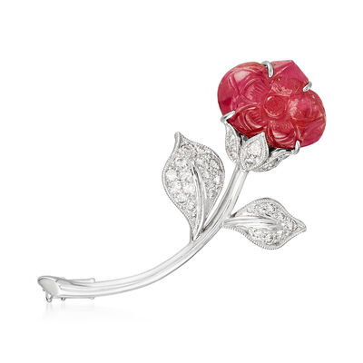 C. 1985 Vintage 6.00 Carat Ruby and .40 ct. t.w. Diamond Flower Pin in 18kt White Gold