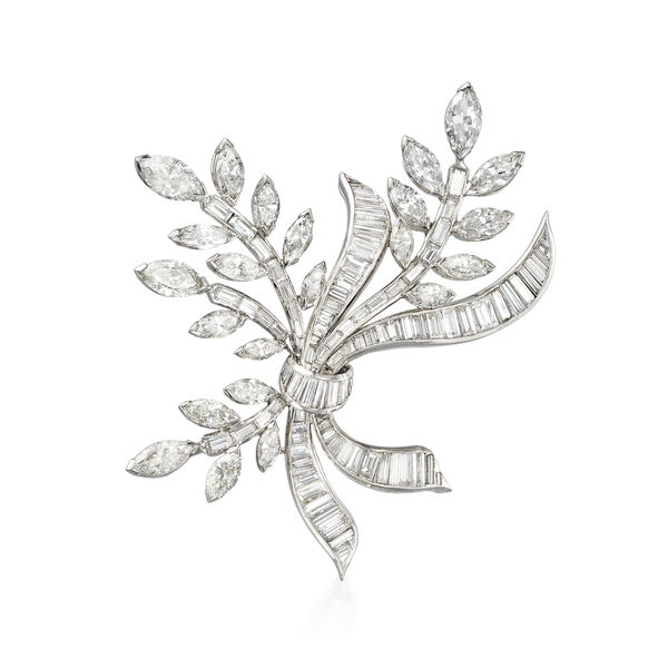C. 1970 Vintage 17.10 ct. t.w. Diamond Leaf with Bow Pin in Platinum. #922148