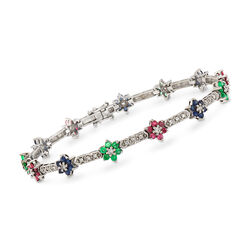 C. 1990 Vintage 3.65 ct. t.w. Multi-Stone Flower Bracelet in 14kt White Gold, , default