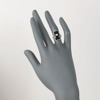 C. 1950 Vintage Faceted Black Onyx Ring with Diamond Accents in 18kt White Gold. Size 5.25, , default